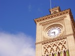 Clock tower at the train station in Toledo, Spain